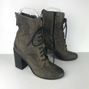 BOUTIQUE 9 green lace up block heel bootie, 7.5